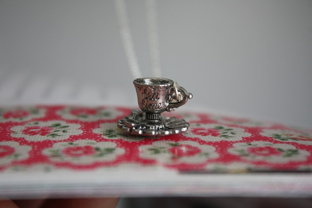 Tiny Tea Time Teacup on a Sterling Silver Plated Chain Necklace