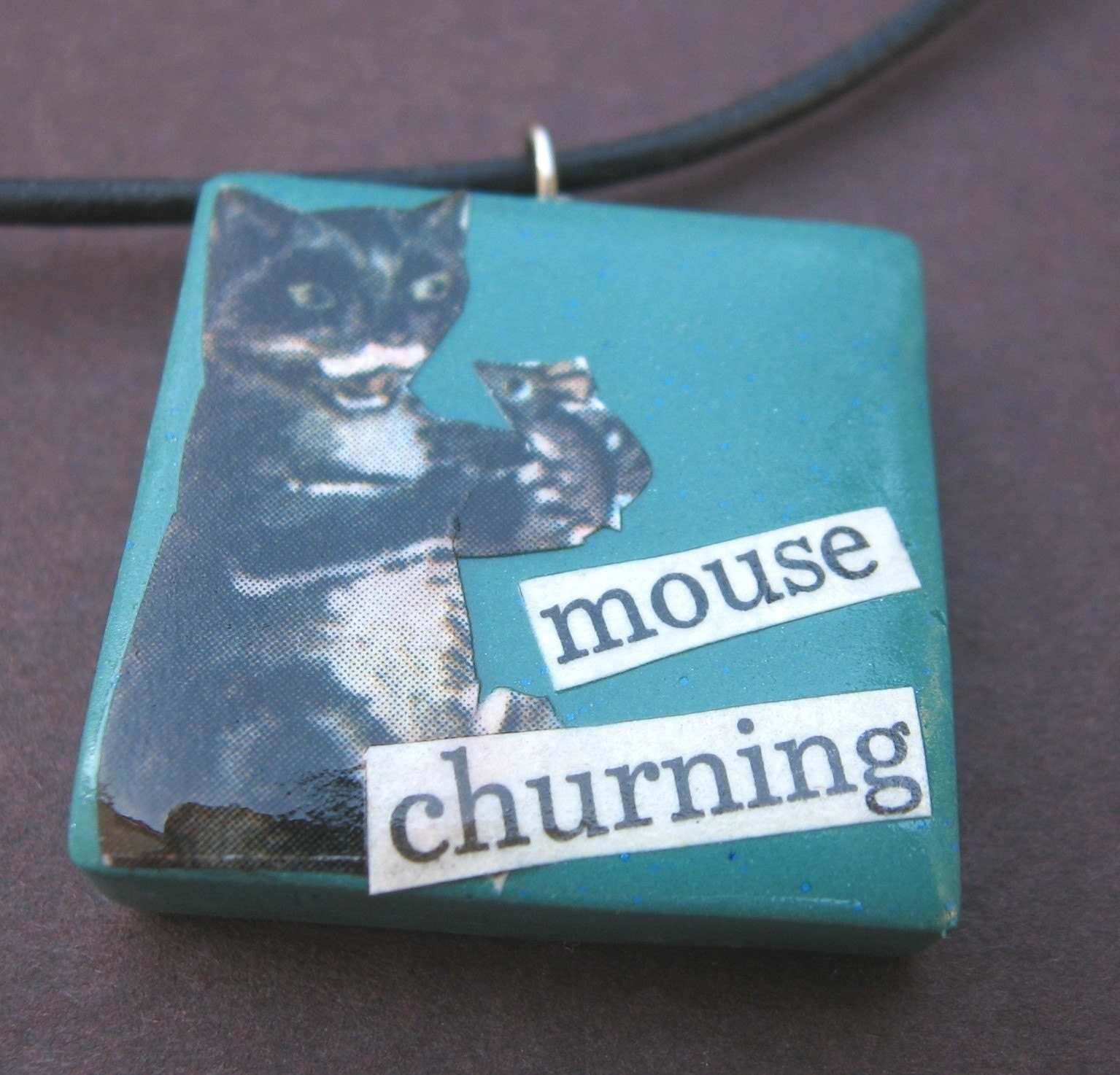 Mouse Churning pendant (on leather cord)
