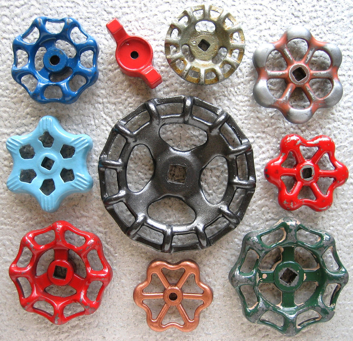 Colorful group of Vintage Valve Handles, Garden decor, Steampunk,  Assemblage, Industrial, Collection of 10 Aluminum