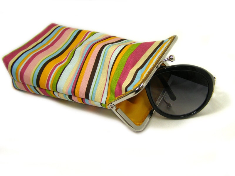 Sunglass Case - 100% cotton - Colored Stripes - Silver Frame - shusha64