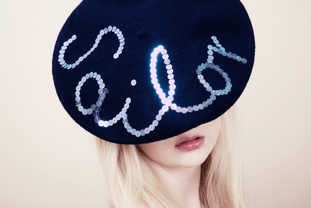All The Nice Girls Love A Sailor Beret (pale blue shiny sequins)