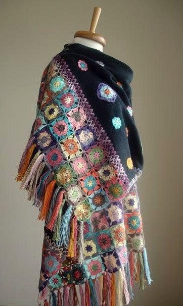 母亲节特别明示优惠,黑色披肩,极地布钩织花,春节,母亲节礼物,妈妈的豪华礼品,OOAK,特别设计的完美