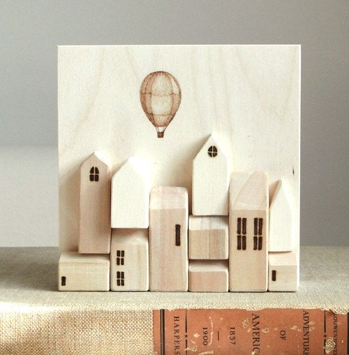 Stacked Houses - Original 3D Wood Wall Art