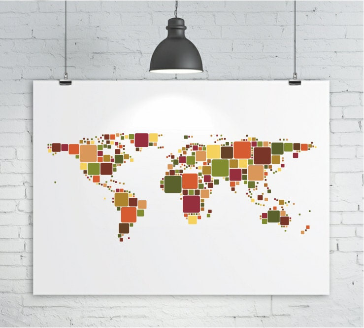 Map of the world map art print poster various sizes and colors
