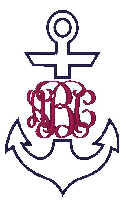 Anchor monogram applique instant download by boutiquefonts