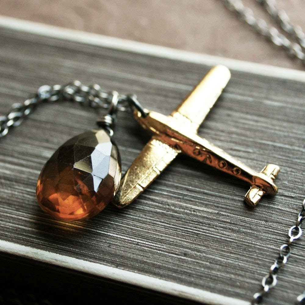 The Aviatrix Necklace - Whiskey Quartz and Brass Airplane Charm on Oxidized Sterling Silver