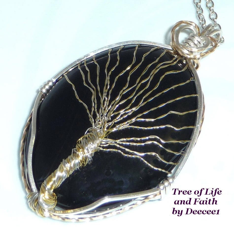 Original  Tree of Life in Black, Silver and Gold