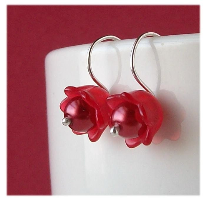 jewelry, earrings, beaded, metalwork, metal, glass, plastic, bead, red, frosted, pawandclawdesigns, sterling silver, lucite, flower