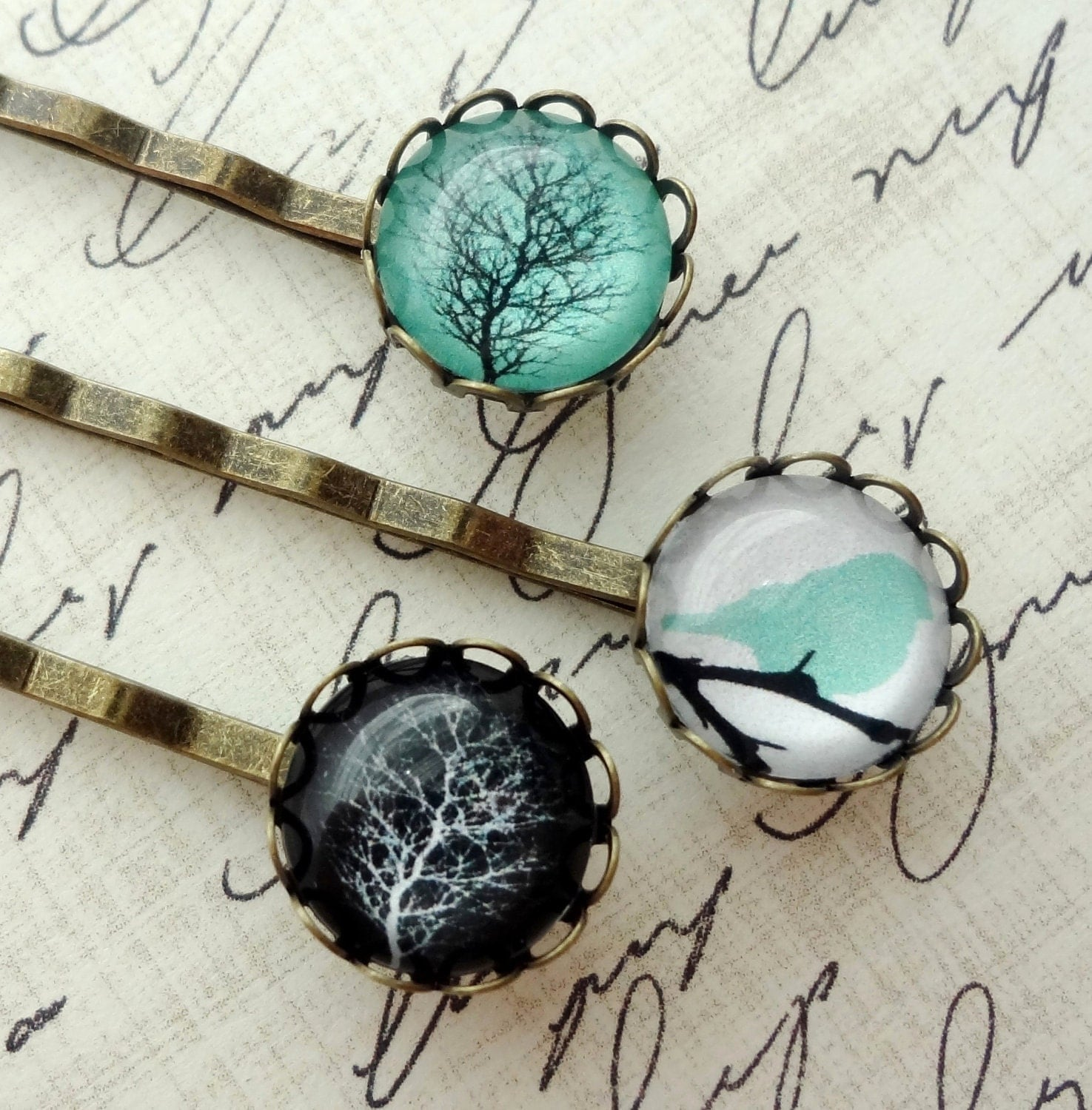 Winter Tree and Resting Bird Hair Pin Set. Aqua. Black. White. - WearitoutJewelz