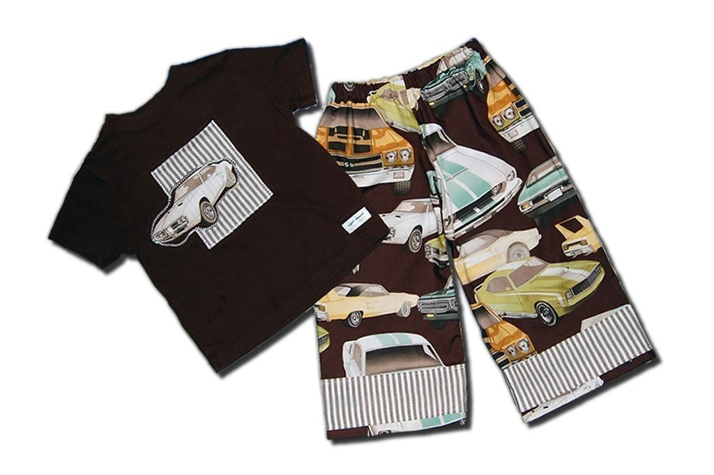 ANKLE BITERS - Retro Muscle Cars - Lounge Pants and Tee - 2 Piece Set - For Baby or Toddler or Big Kid