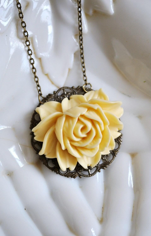 Romantic Ivory Flower Pendant