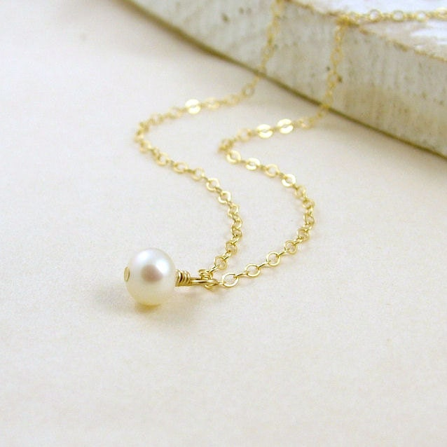 dainty pearl necklace gold filled simple pearl by roseandraven
