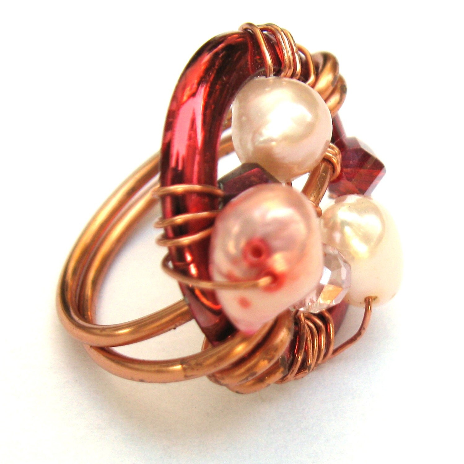 Copper Pearl Ring - prettycheap