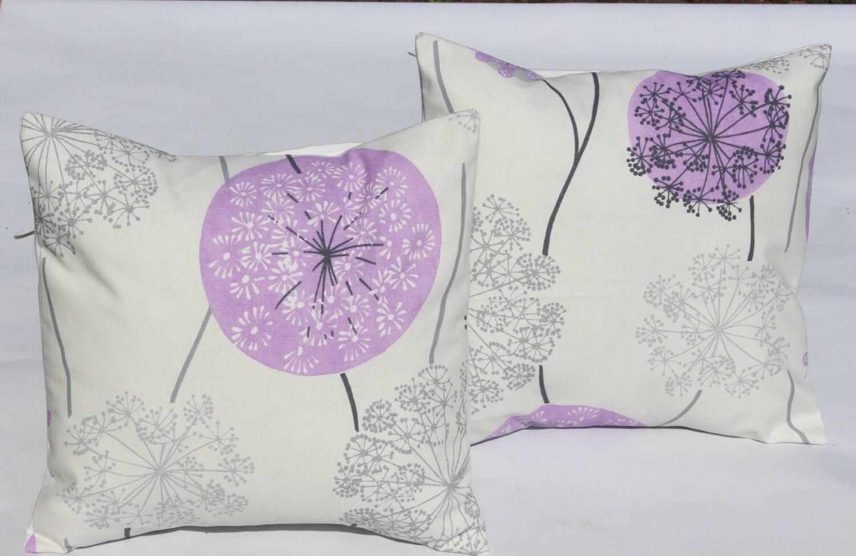 Pillows lilac purple silver grey gray dandelion clock by VeeDubz