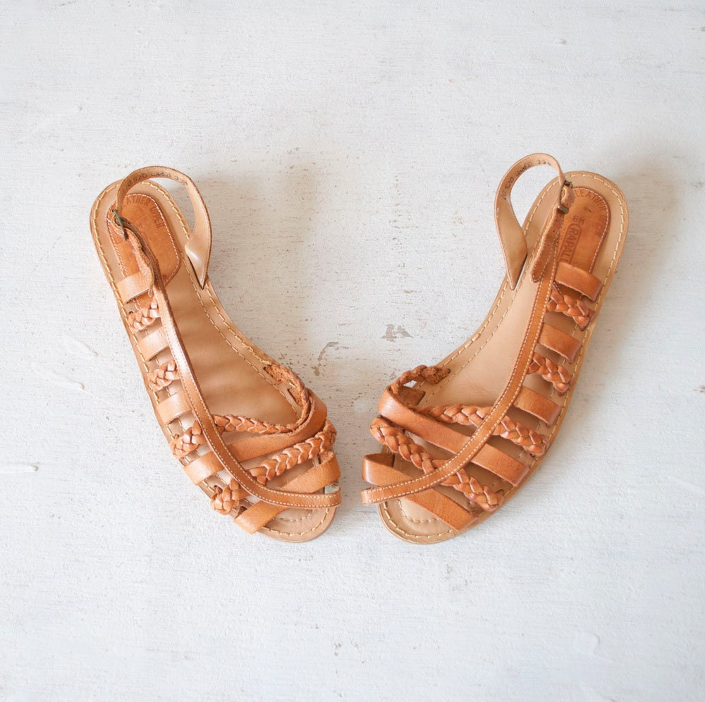 Vintage Grecian Leather Sandals by MariesVintage on Etsy from etsy.com