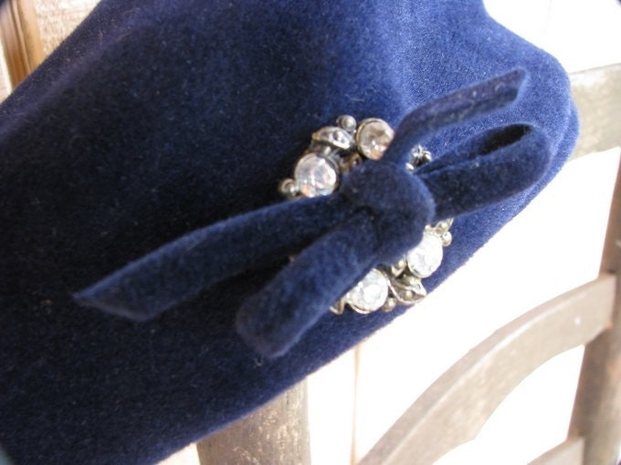 vintage blue hat with rhinestone bow.