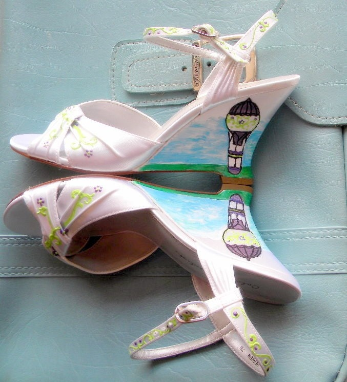 "Shoes Bridal  wedges painted Hot air balloon ""Travel in Style"""
