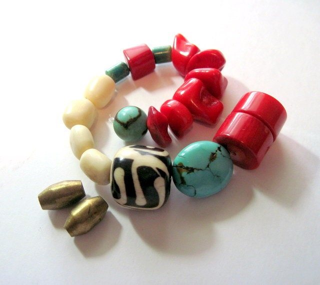 Turquoise, Coral Bone Tribal Bead Mix
