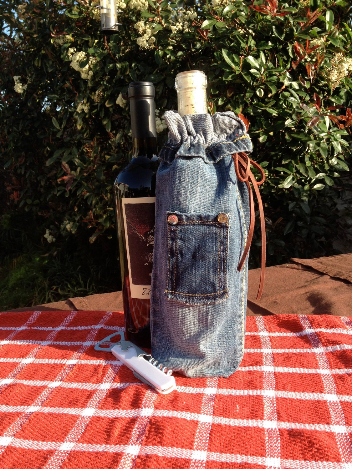 Wine Bottle Gift Bag (Repurposed Denim)