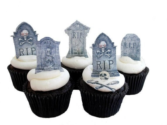 HALLOWEEN TOMBSTONE Cupcake Toppers - 12 Edible Cake ...
