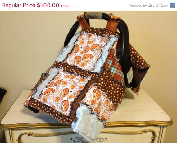 car seat cover in orange paisley and brown by avisiontoremember. Black Bedroom Furniture Sets. Home Design Ideas