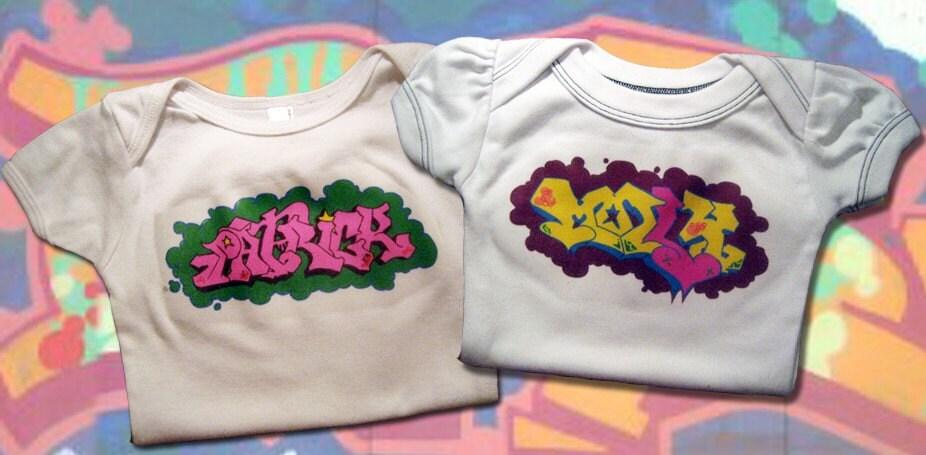 Custom graffiti baby onesie