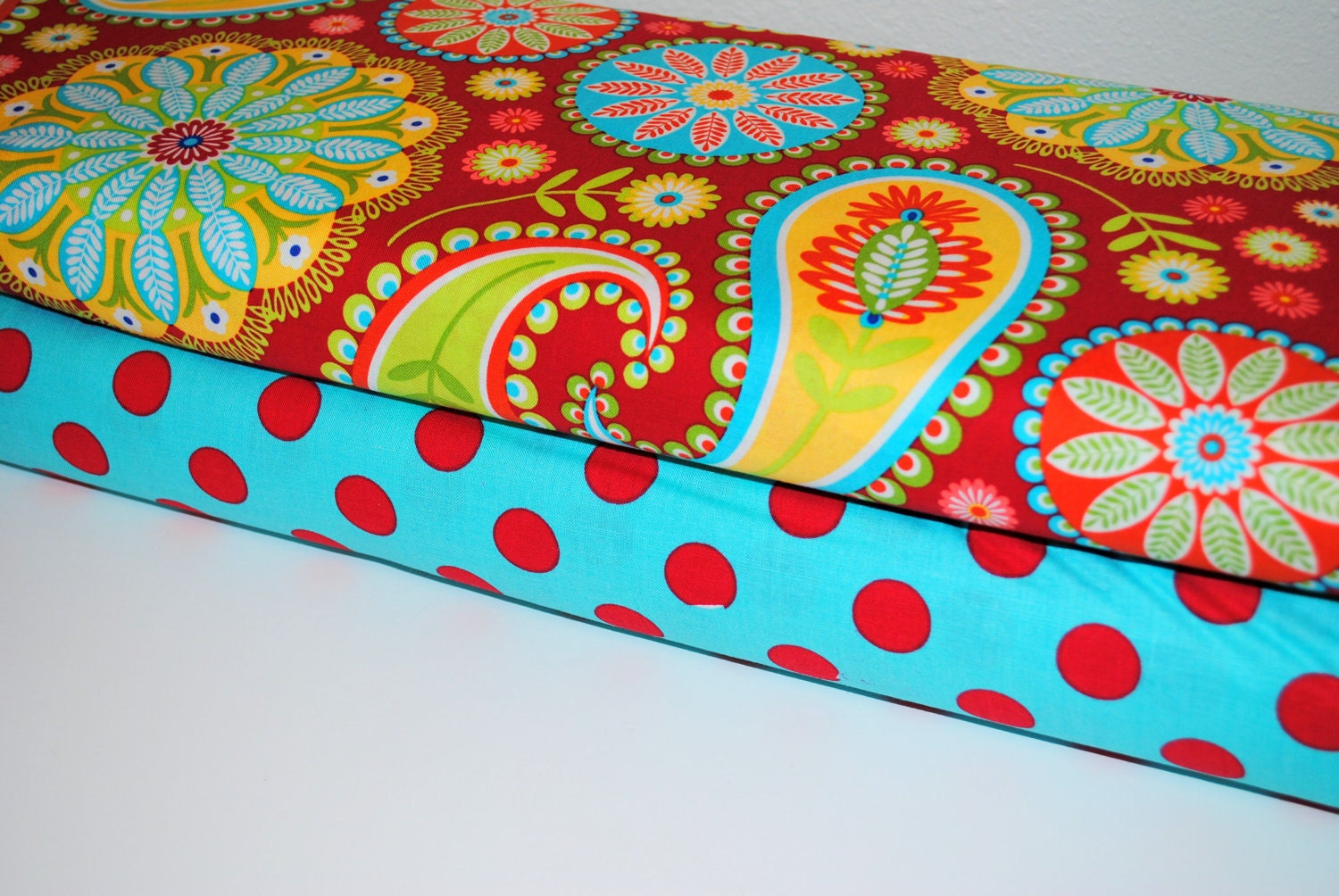 Red Gypsy Paisley and Aqua Quarter Dot by Michael Miller 1 Yard set of 2