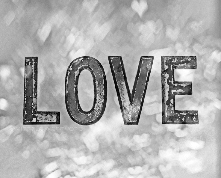 Love gray home decor 8x10 black and white photograph - Black and White Love