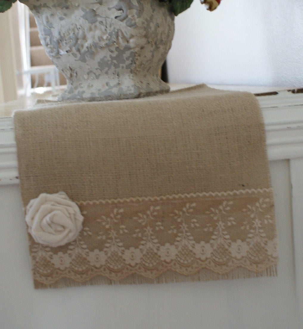 "burlap and vintage lace table runner 72"" x 11"""
