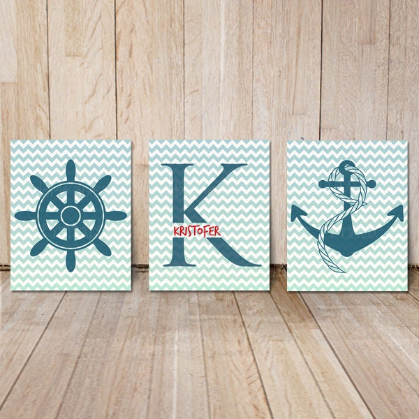nautical nursery wall art decor with monogram by printablemiracles. Black Bedroom Furniture Sets. Home Design Ideas