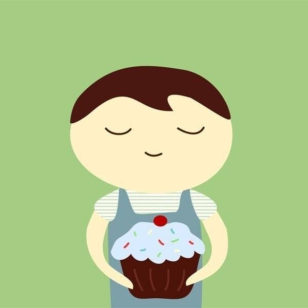 cupcake - boy - 5x5 print