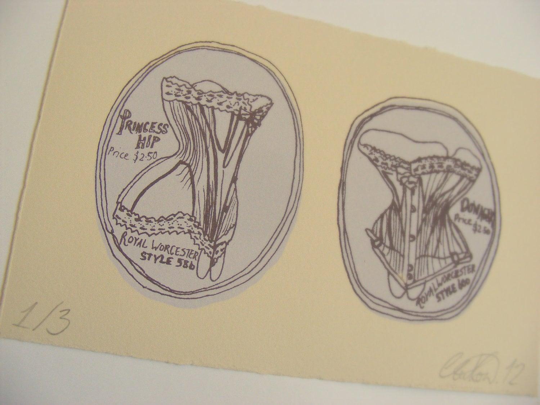 Two Edwardian Corset Motifs - Screenprint of an Original Drawing - ThePeahenPen
