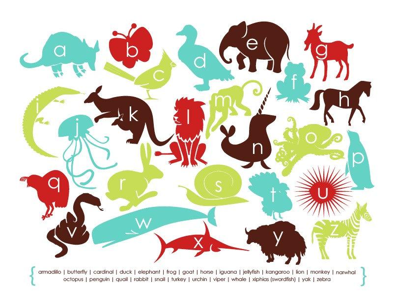 11x14 Modern Animal Alphabet Print - Child's Room - As seen on Ohdeedoh.com
