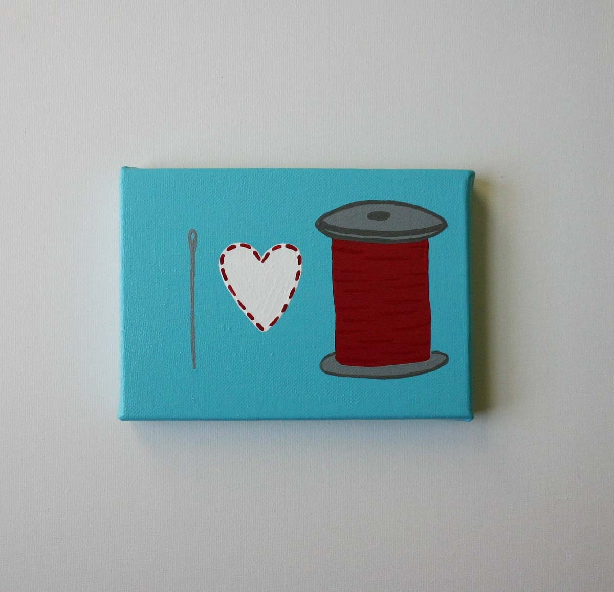 Affordable Original Painting, Wall Art, Home Decor - I heart thread (5 x 7 Canvas)