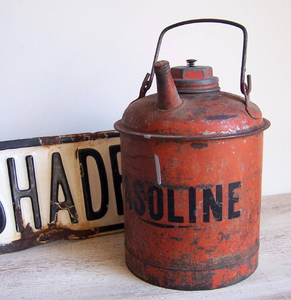 Old  and Orange...Steel Gas Can