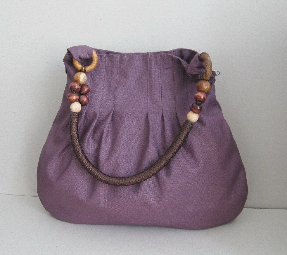 Plum Canvas Bag With Rope Beads Strap