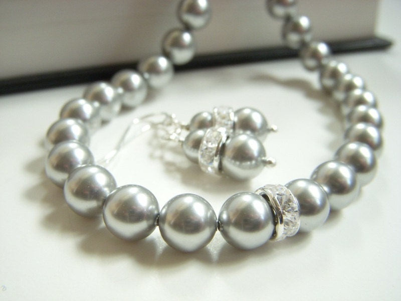 silver gray pearl bridesmaid set swarovski w rhinestone wedding jewelry