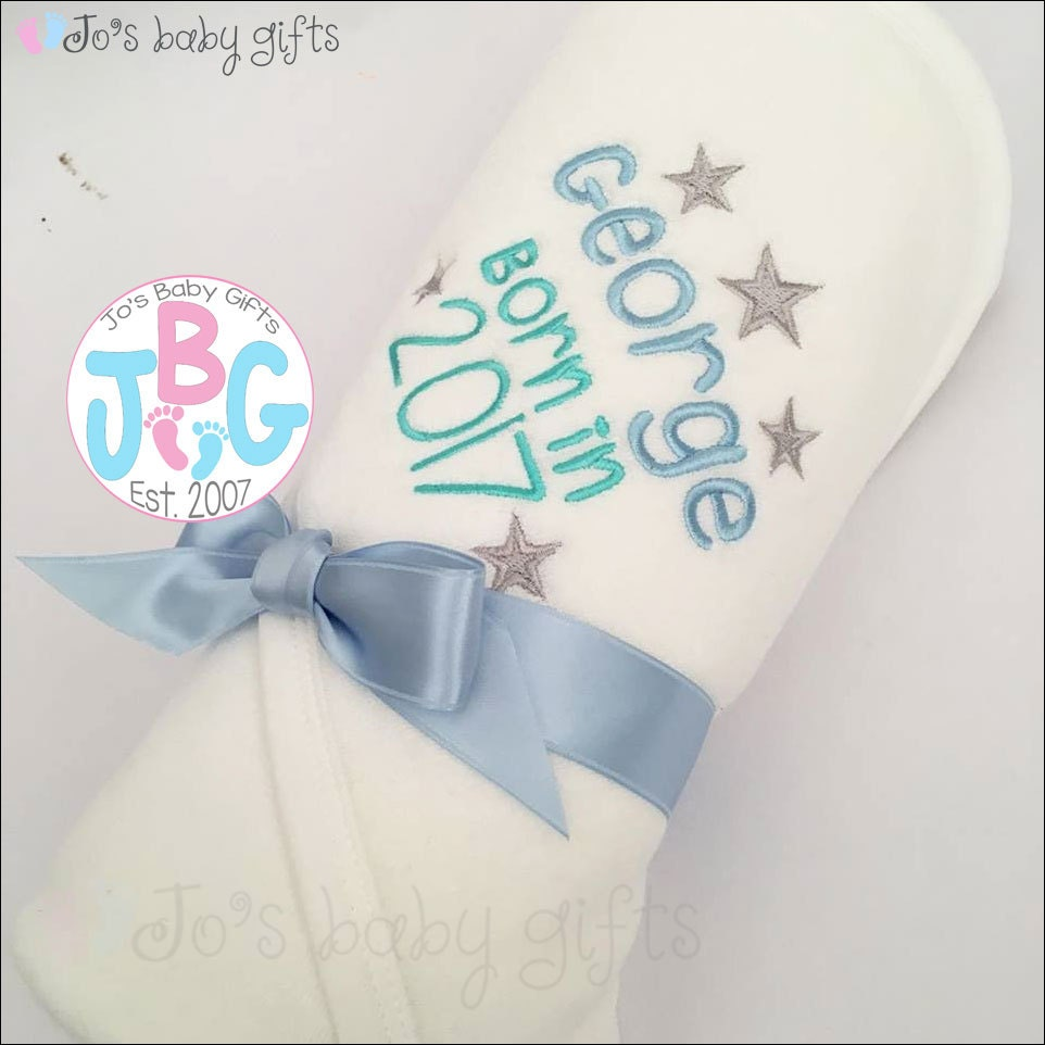 Personalised Baby Hooded Towel Born in 2017 or 2016 Embroidered with any name