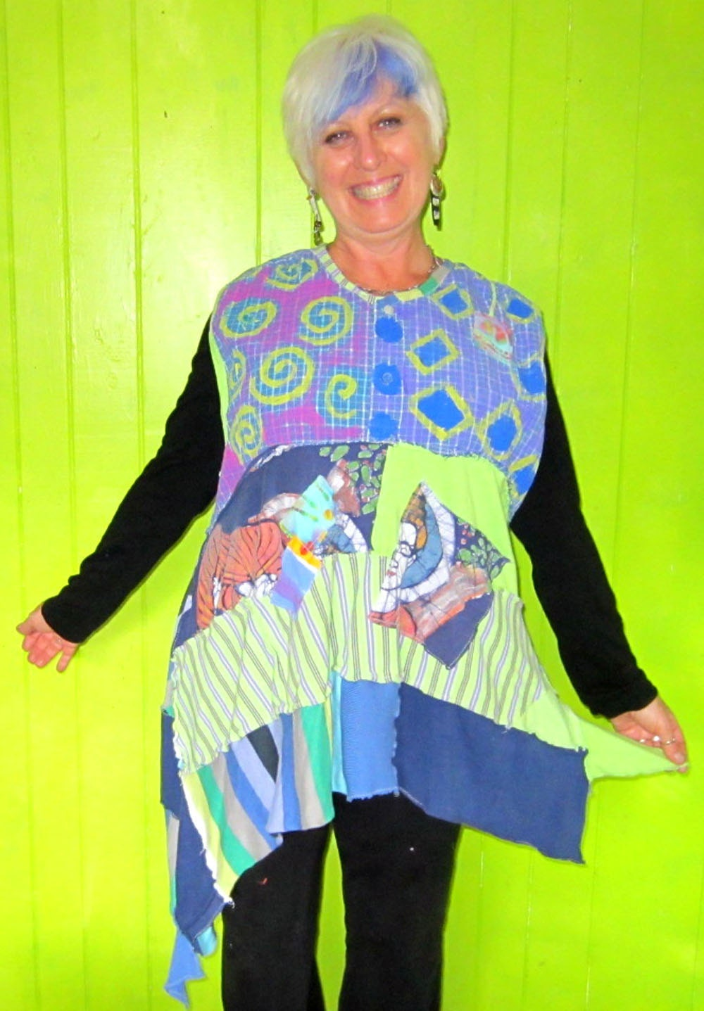 Hand painted Funky Vest or Sleeveless tunic In shades of Blue and Green SALE one size fits most