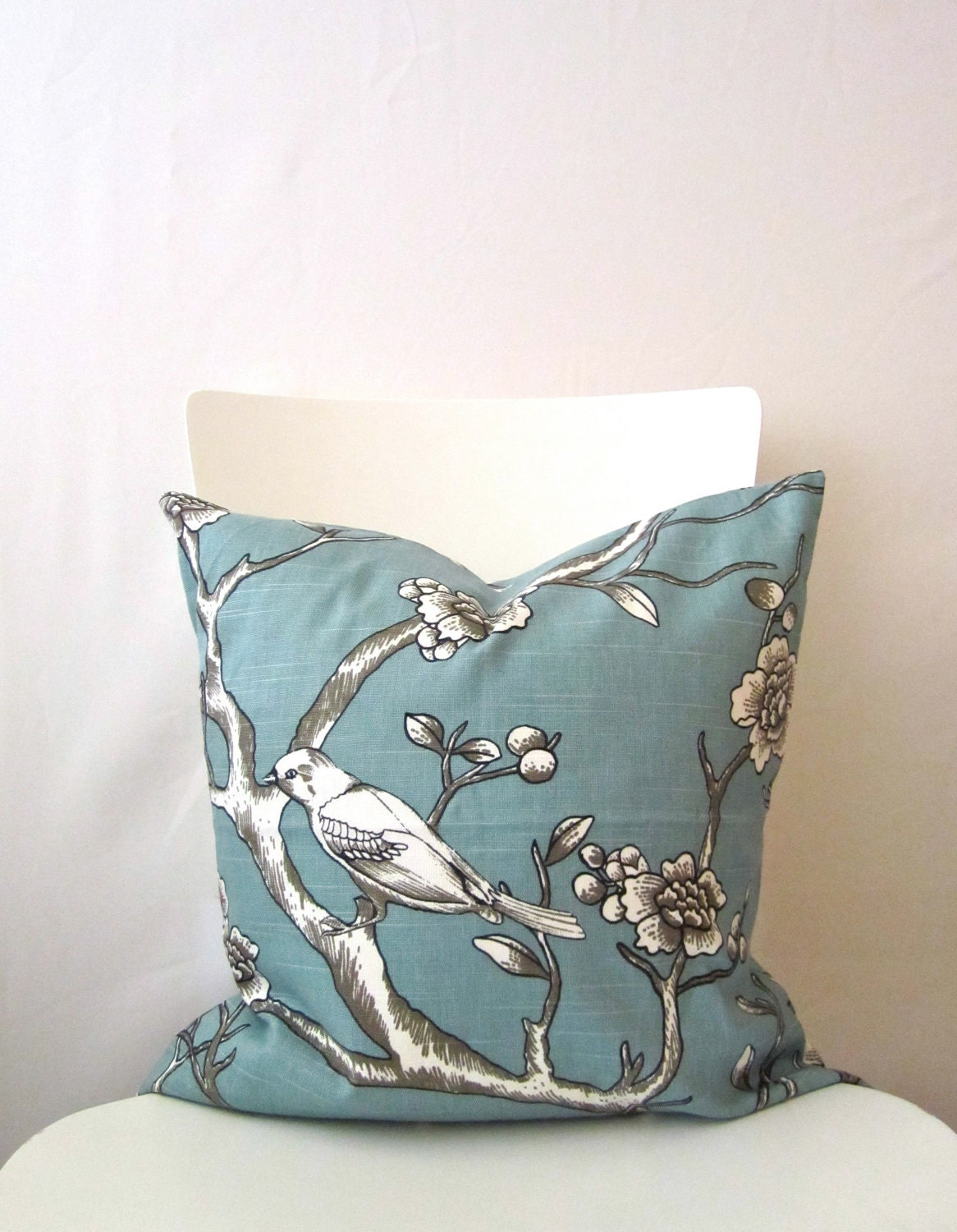 Bird Themed Throw Pillows : Items similar to 18 inch throw pillow cover, Dwell birds and branches, blue color. Nature trees ...