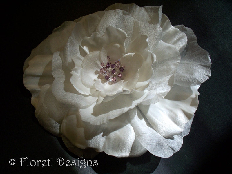 Couture Off White Satin Poppy Rose Bridal Sash Pin w by Floretii from etsy.com