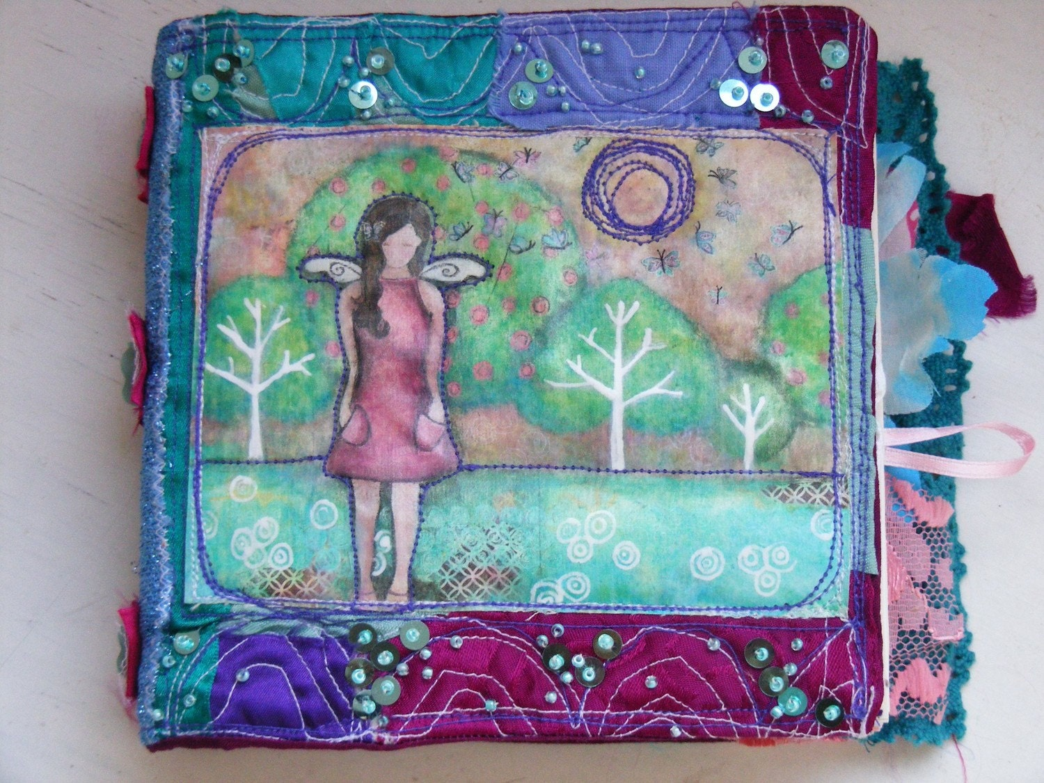 Unique Fabric Journal with mixed media print