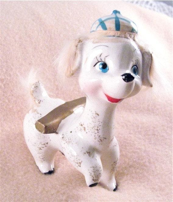 Vintage dog with hat figurine SIGNED