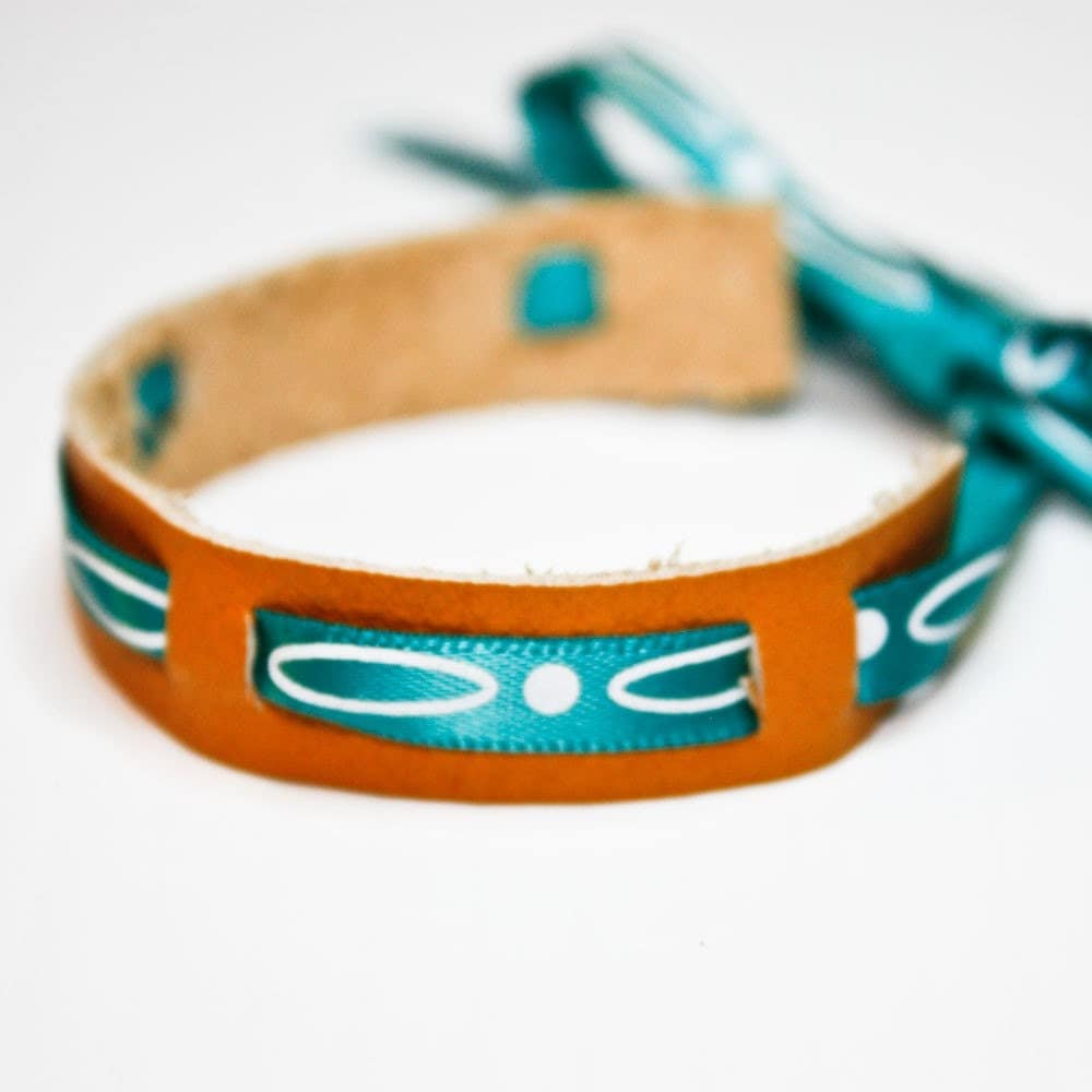 Leather Bracelet with Ribbon (Yellow and Turquoise)