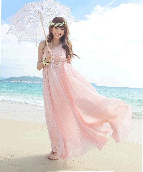 Womens Pink Chiffon Long Dress Wedding Dress By Colorfulday01