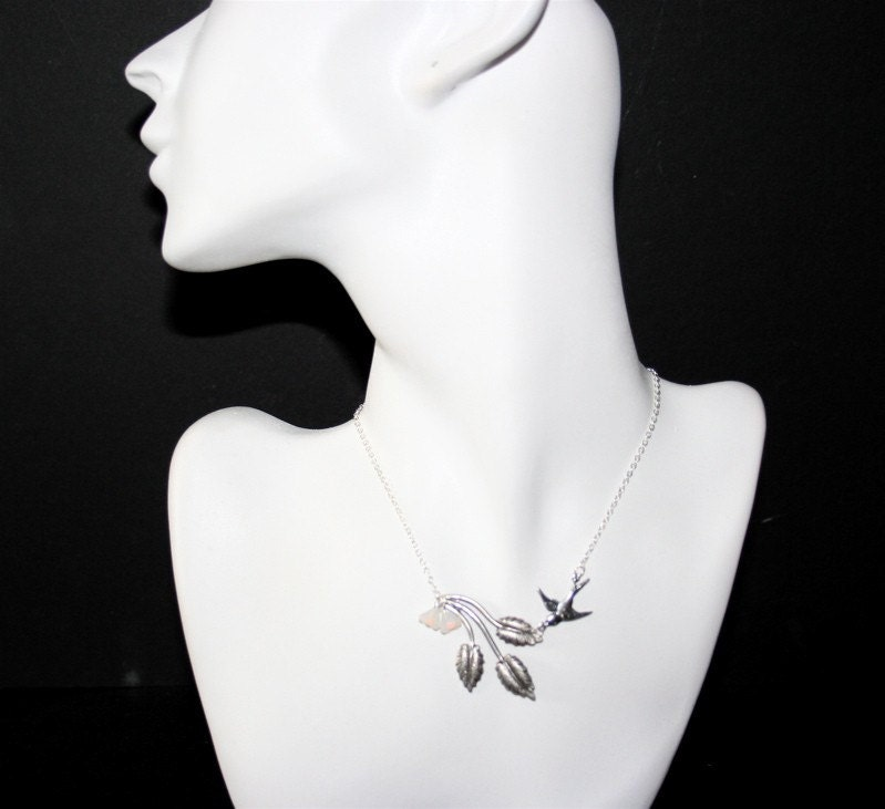 Silver  Leaf Branch and Bird Necklace with Flowers by smilesophie
