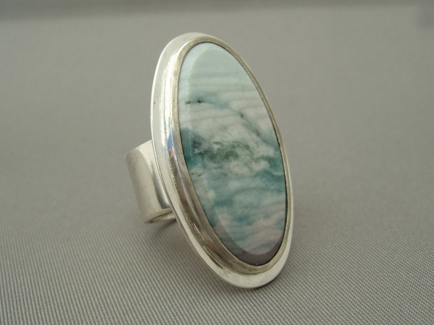 Ocean Wave Jasper Gemstone Large Sterling Silver Ring - TheSilverForge