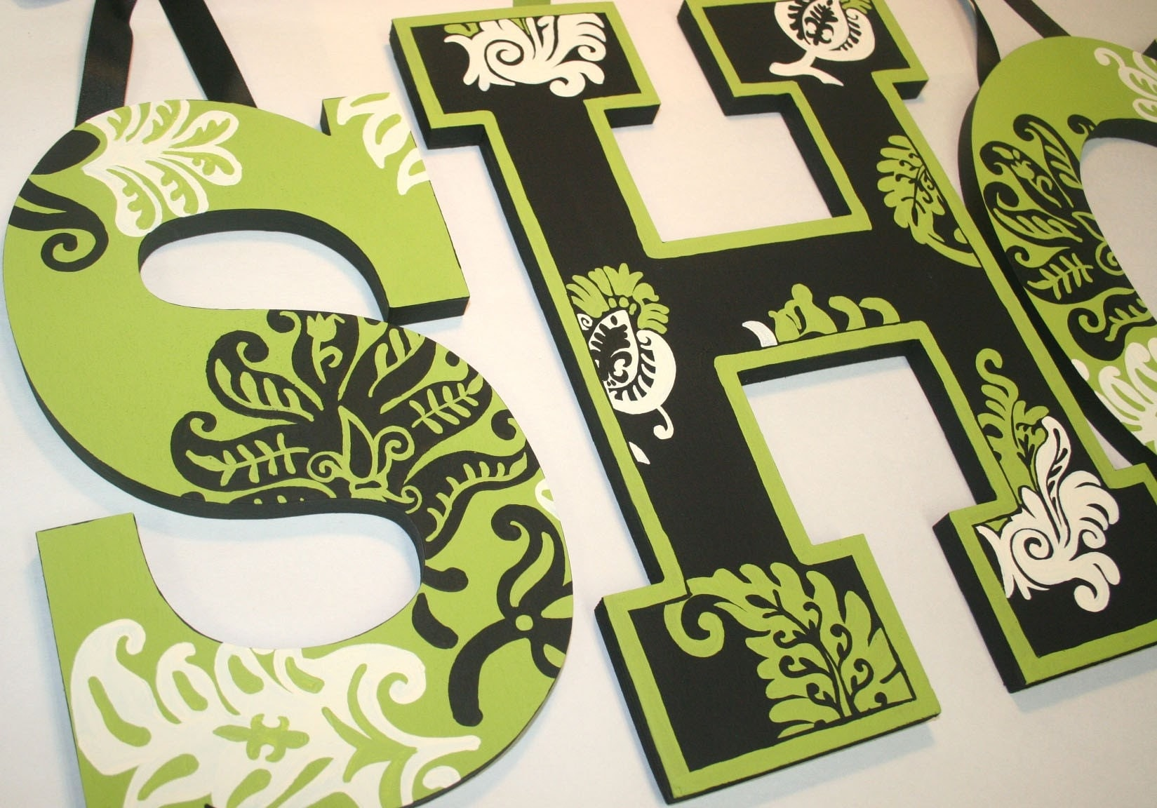 Lime Flourish Hand Painted Wooden Wall Letters