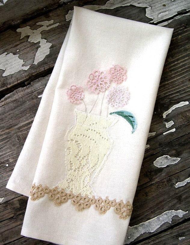 Vintage Lacey Vase of Tatted Flowers TEA TOWEL