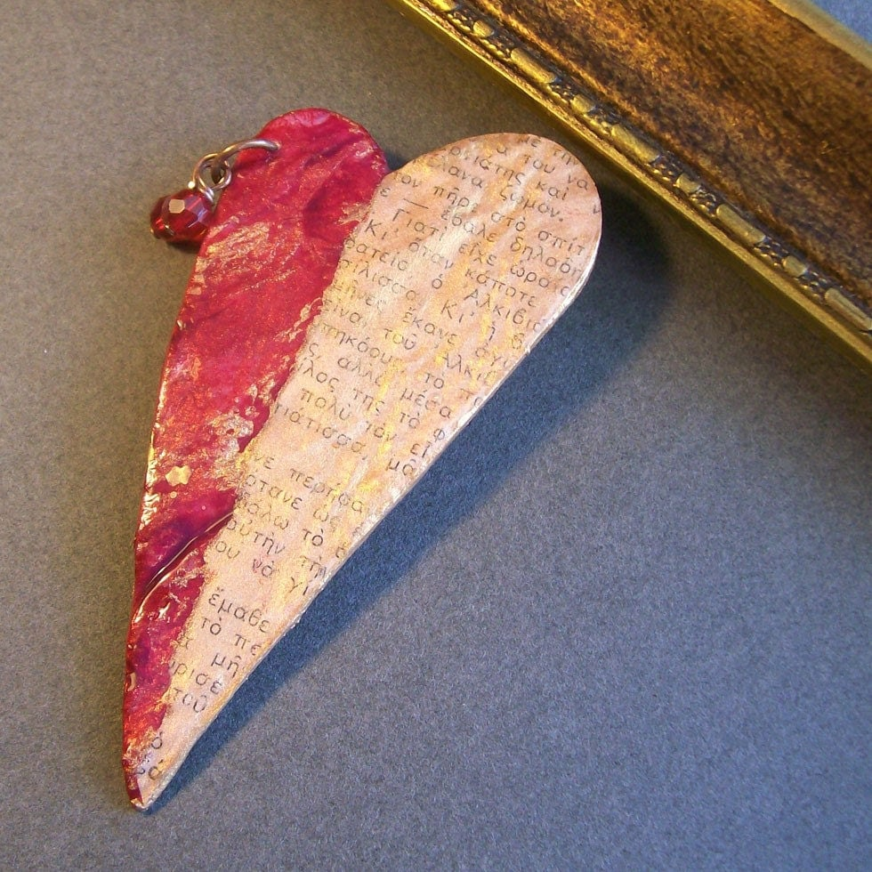 Heart brooch with text - red